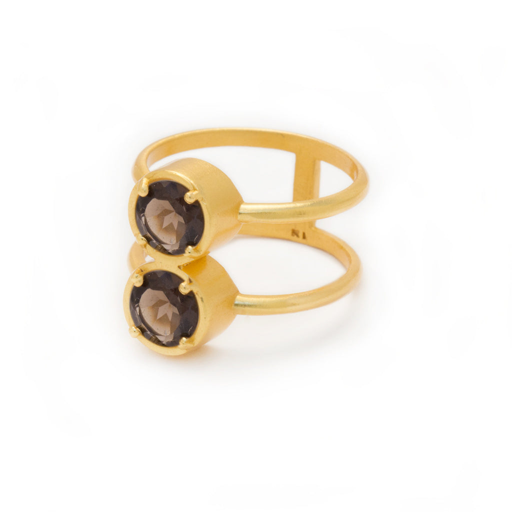 Smoky Quartz in Gold Ring - jewelry