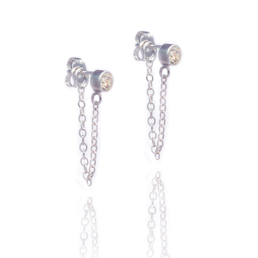 Silver Stone & Chain Earrings
