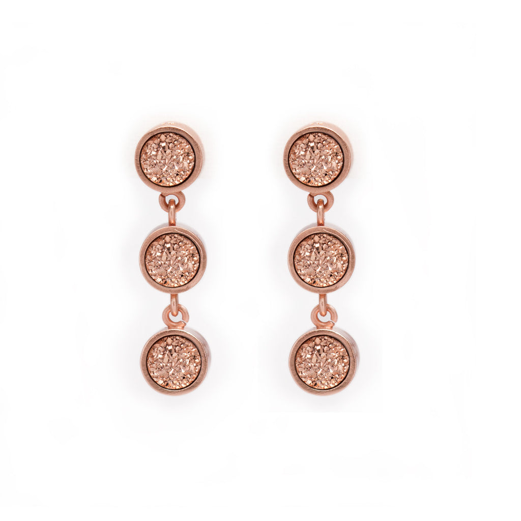 Rose Gold Druzy Earrings - Kristine Lily