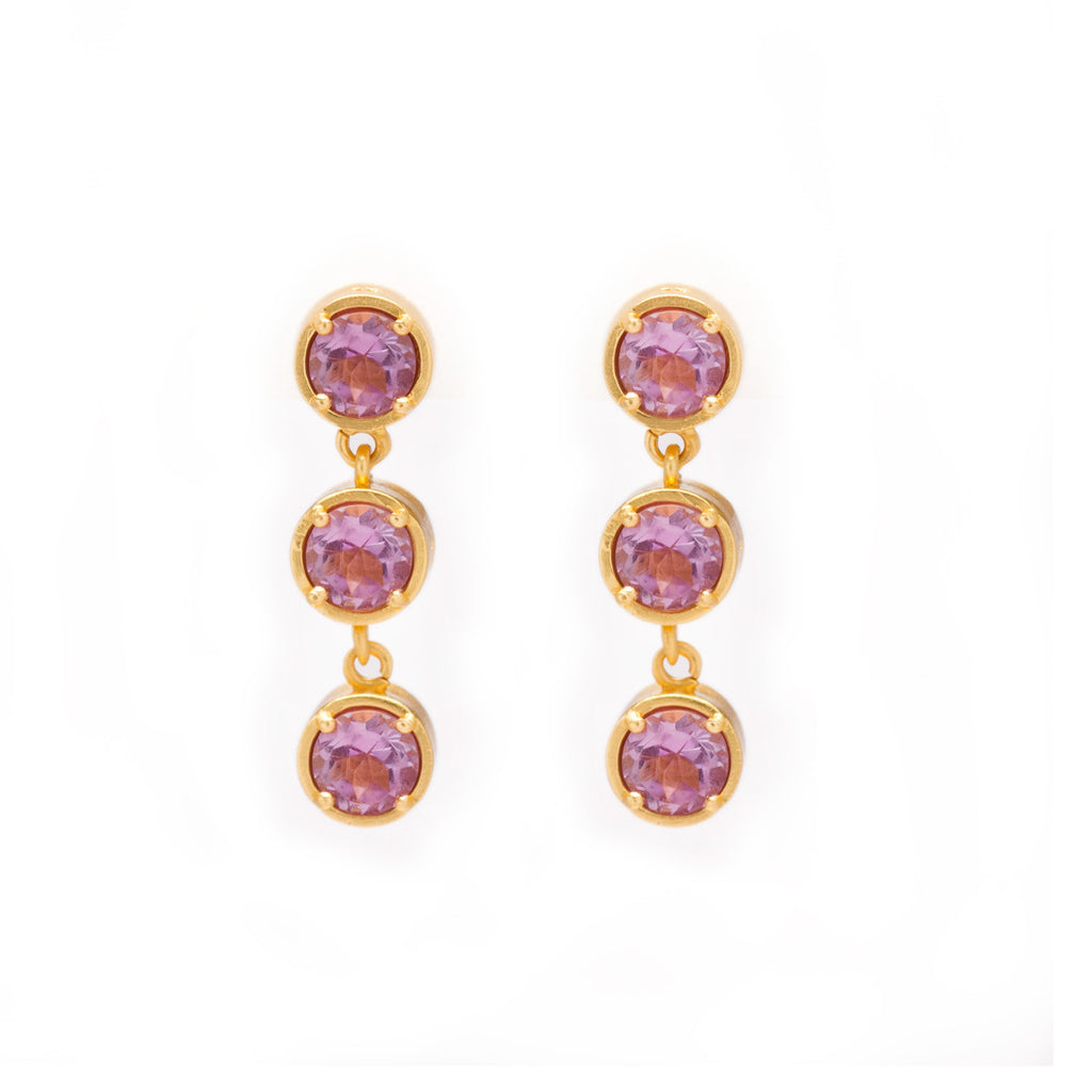 Amethyst in Gold Dangle Earrings - Kristine Lily
