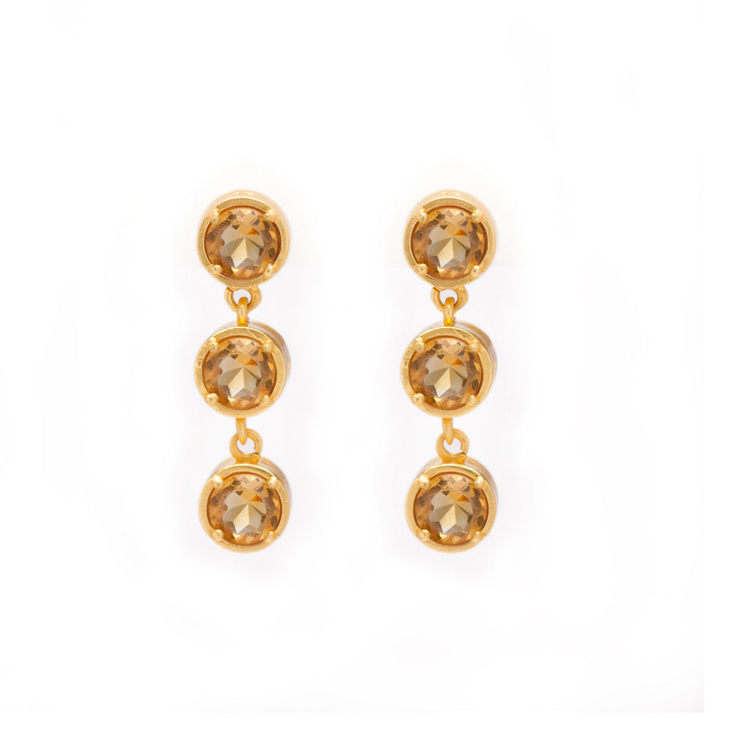 citrine gemstone earrings in gold