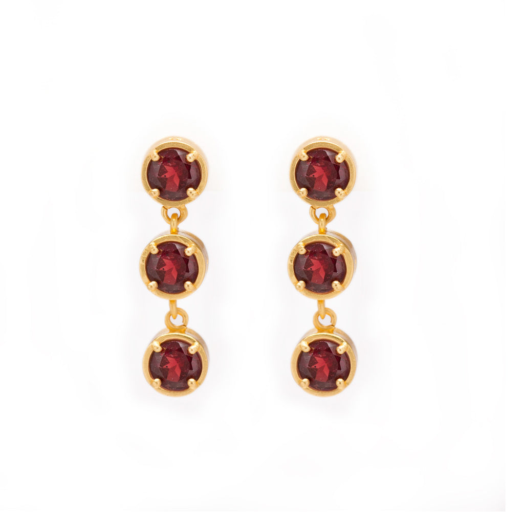 Garnet Earrings in Yellow Gold by Kristine Lily - Jewelry