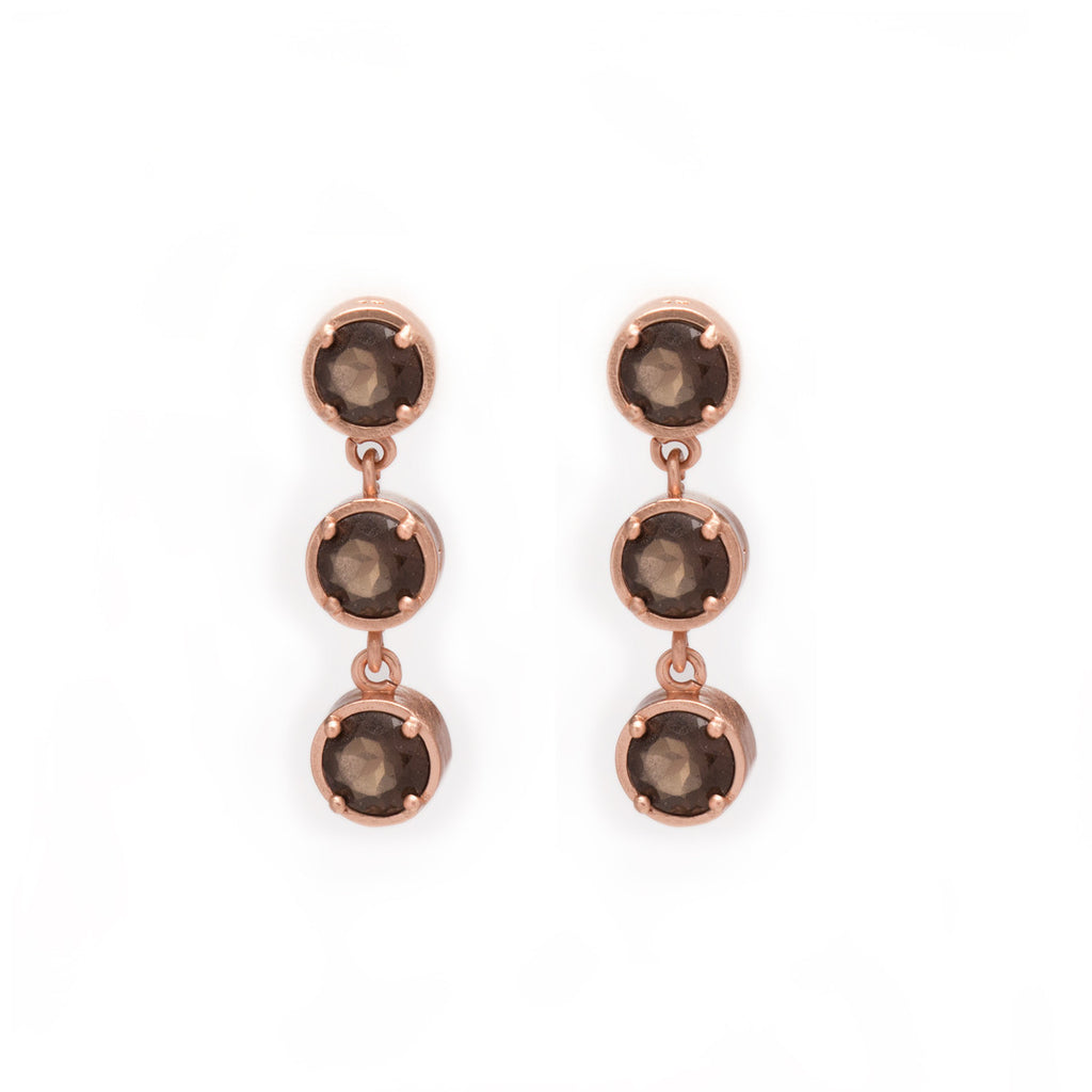 Smoky Quartz Earrings in Rose Gold
