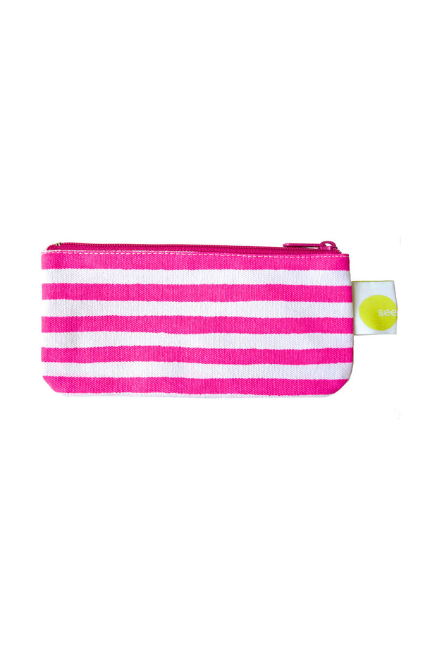 See Design See Design Cosmetic Bag/Pencil Case Karma Stripe Fuschia/White - KIITOSlife
