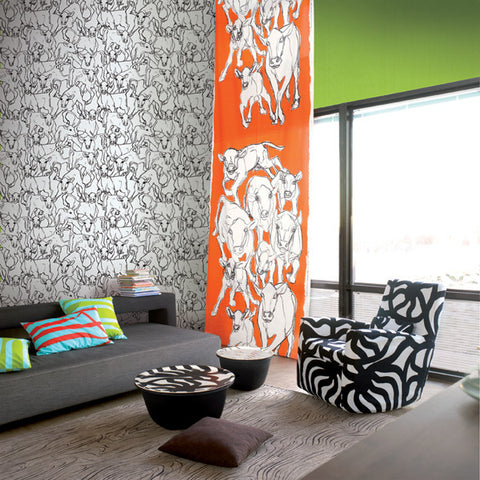 Marimekko  Iltavilli Wallpaper Black/White