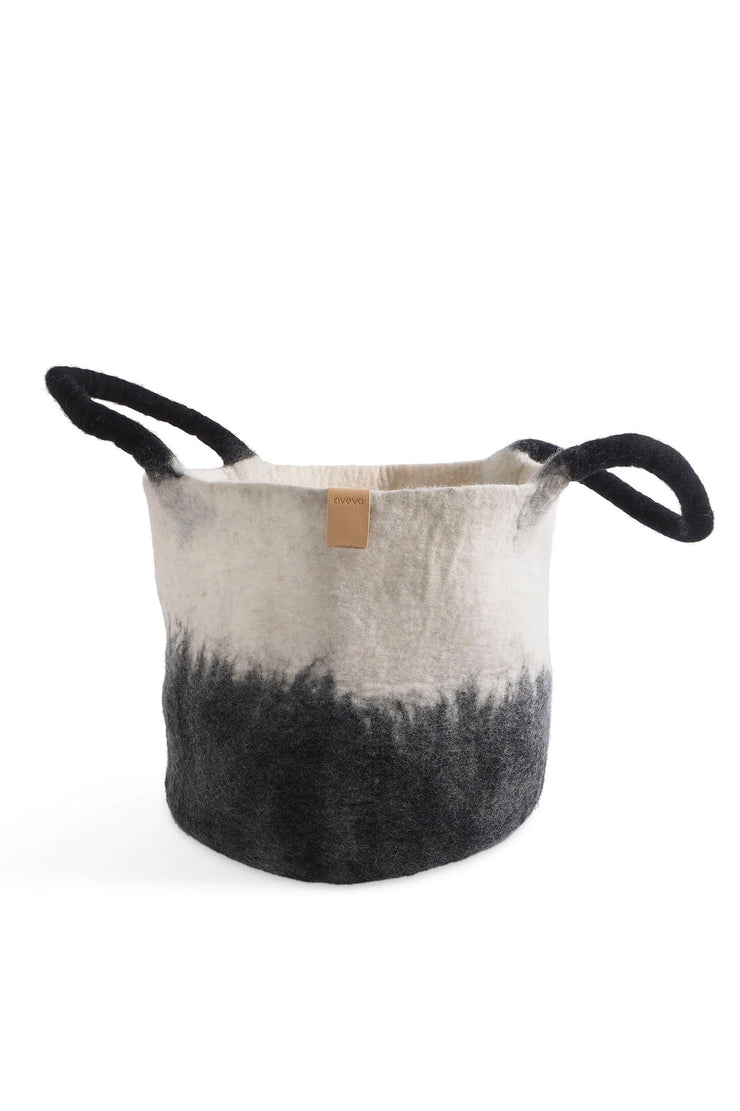 Aveva Wool Felt Large Basket Black/White