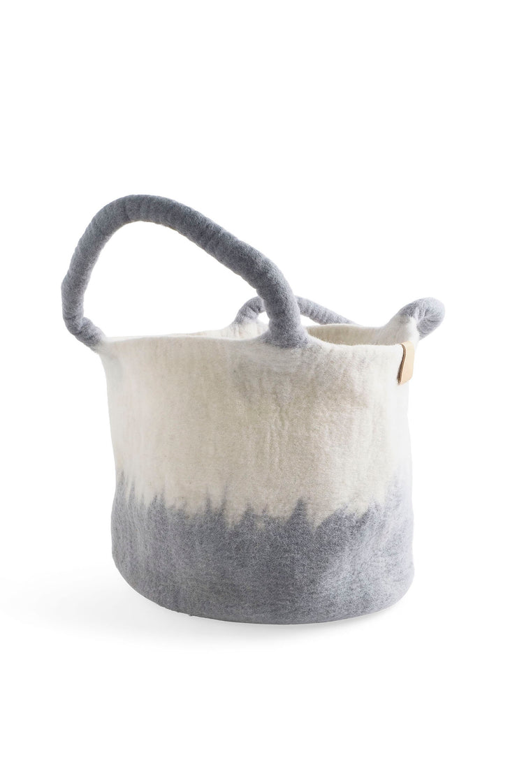 Aveva Wool Felt Large Basket Concrete