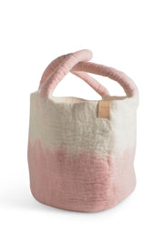 Aveva Wool Felt Large Basket Pink