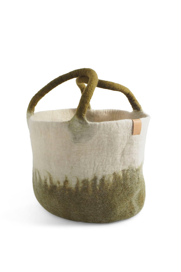 Aveva Wool Felt Large Basket Olive