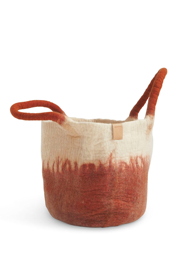Aveva Wool Felt Basket Rust