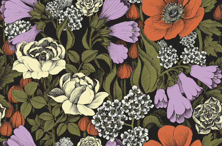 Marimekko Marimekko  Oodi Wallpaper Cream/Poppy Orange/Foliage/Black - KIITOSlife - 1