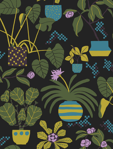 Marimekko  Ikkunaprinssi Wallpaper Foliage/Yellow/Turquoise