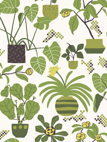 Marimekko  Ikkunaprinssi Wallpaper Foliage/Mustard/White