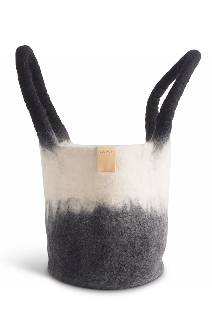 Aveva Wool Felt Small Basket/Bag Black