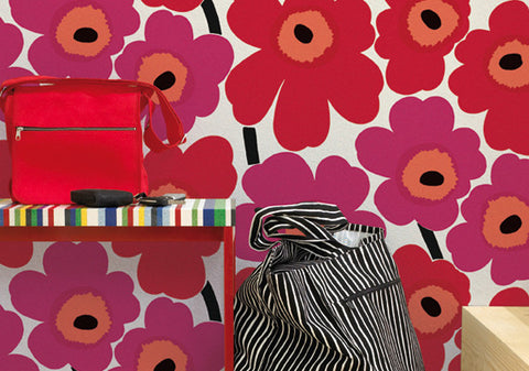 Marimekko  Unikko Wallpaper Red/White