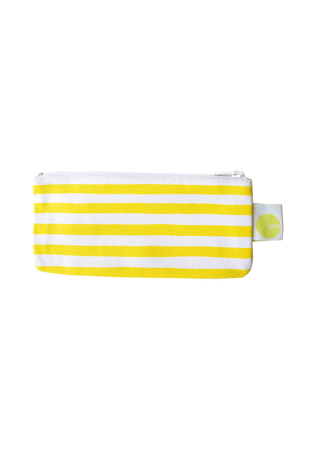 See Design See Design Cosmetic Bag/Pencil Case Karma Stripe Yellow/White - KIITOSlife