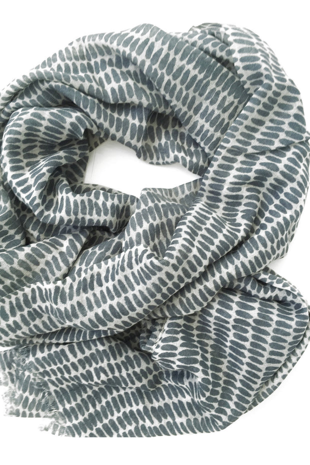 See Design Seeds Wool Scarf Grey/White