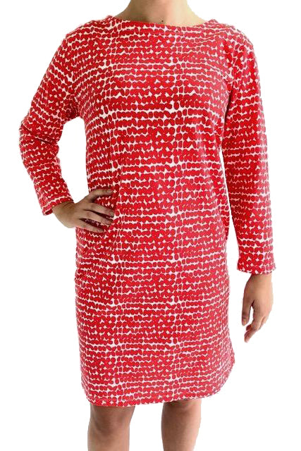 See Design Smudge 3/4 Sleeve Dress Red/White