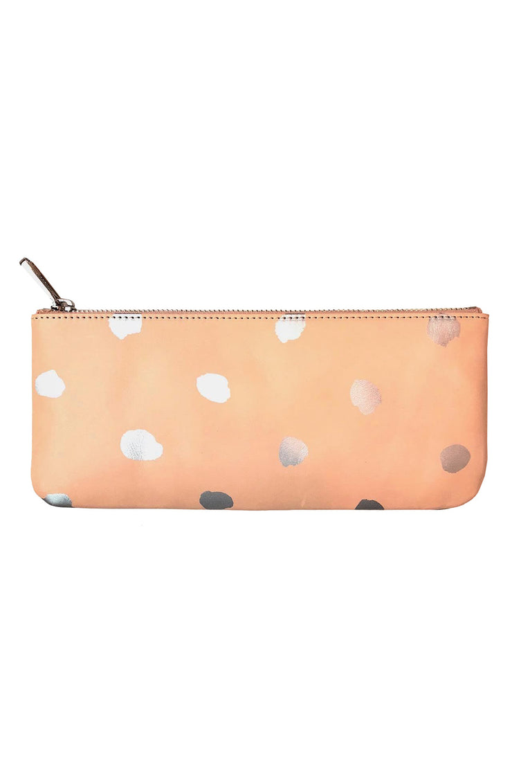 See Design Leather Wallet Dots Silver Large
