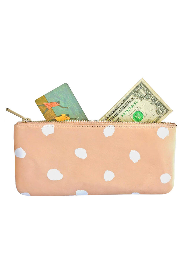 See Design Leather Wallet Dots White Large
