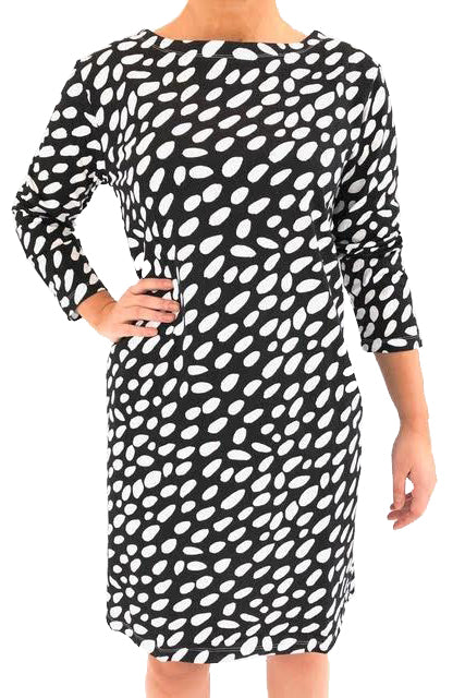 See Design Cheetah 3/4 Sleeve Dress Black/White