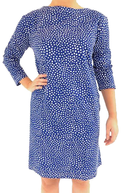 See Design Spots 3/4 Sleeve Dress Navy