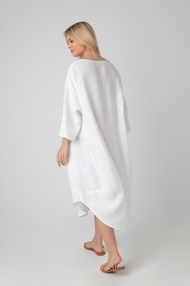 Kiitos Tulip Linen Dress White