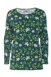 PaaPii Aava Organic Cotton Shirt Starflower Dark Green