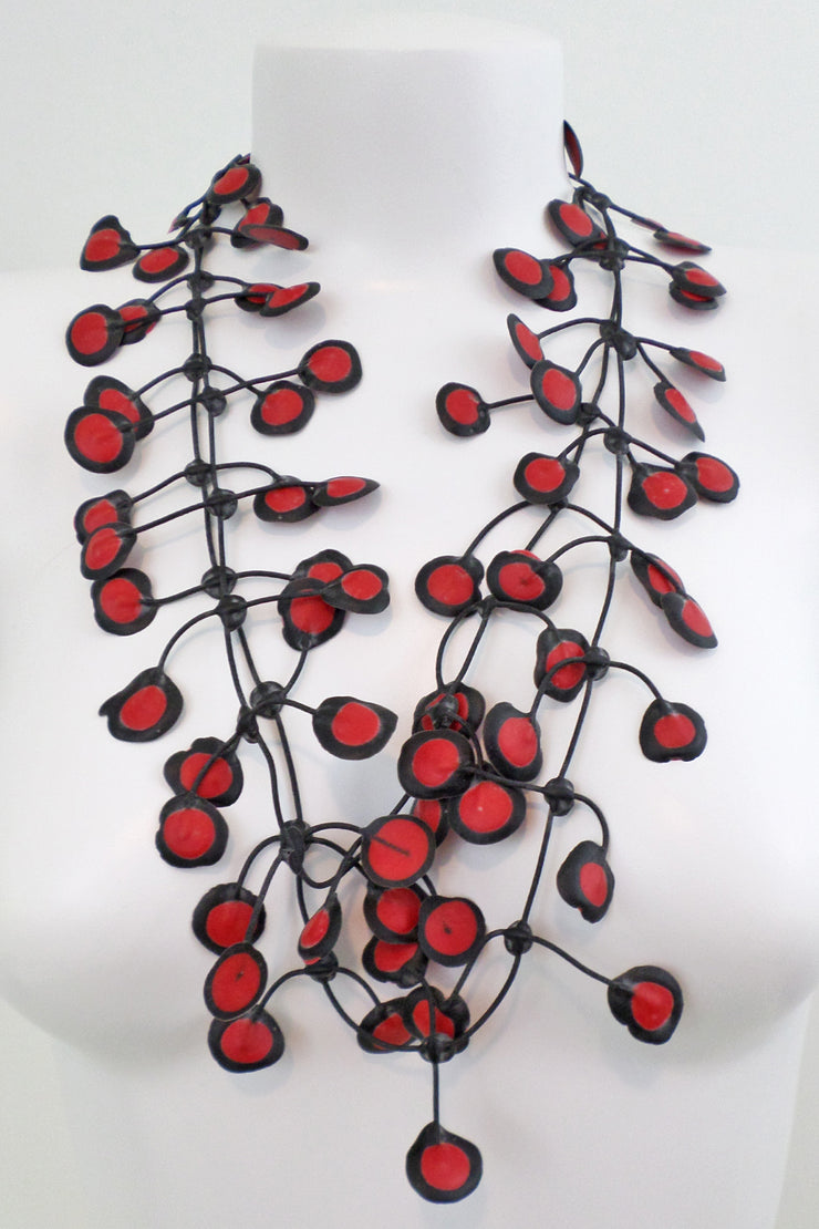 Annemieke Broenink Dubbel Pop Dot Necklace Red