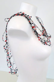 Annemieke Broenink Dot Elastic Shawl Necklace Red/Neutral