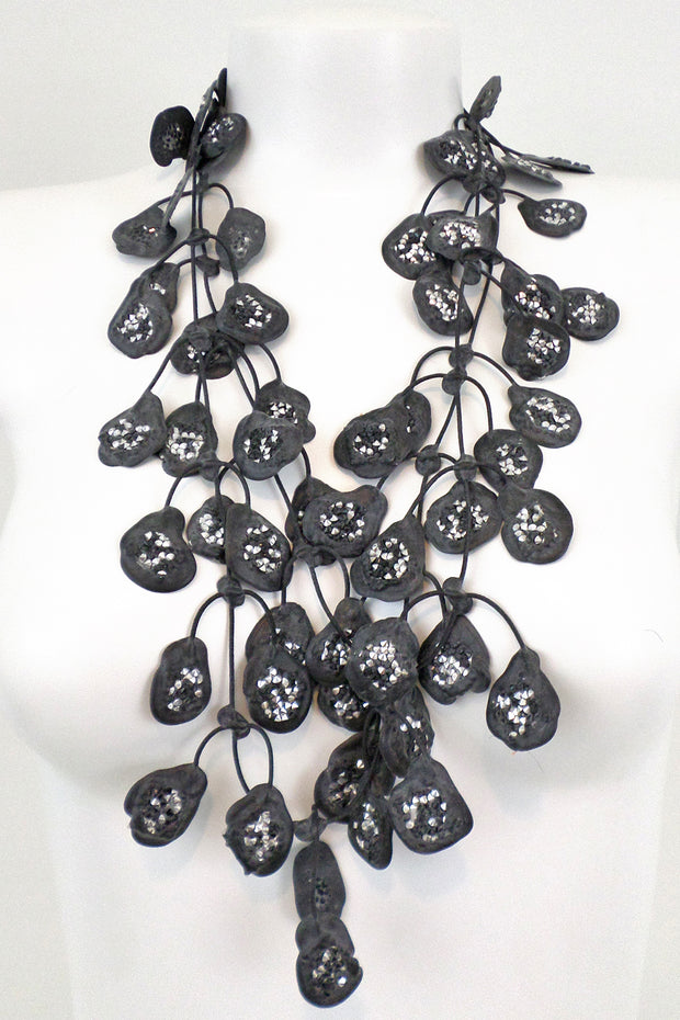 Annemieke Broenink Glitter Poppy Necklace Silver/Black