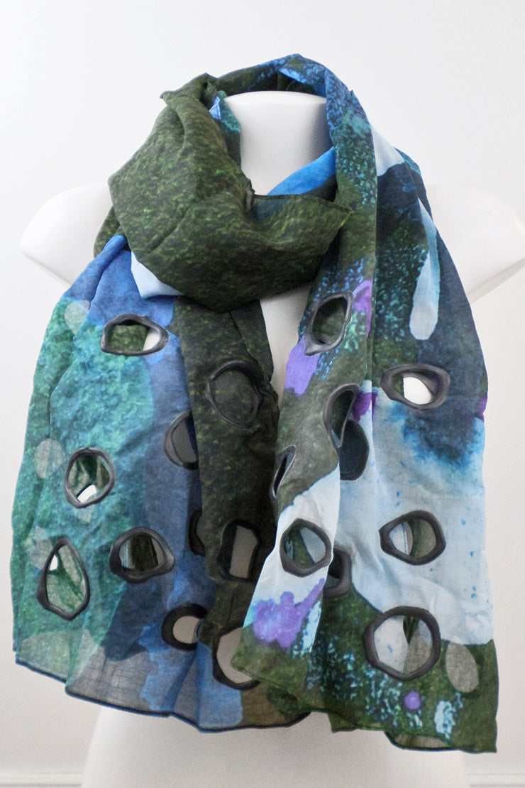 Annemieke Broenink Cotton Shawl Blue Mix