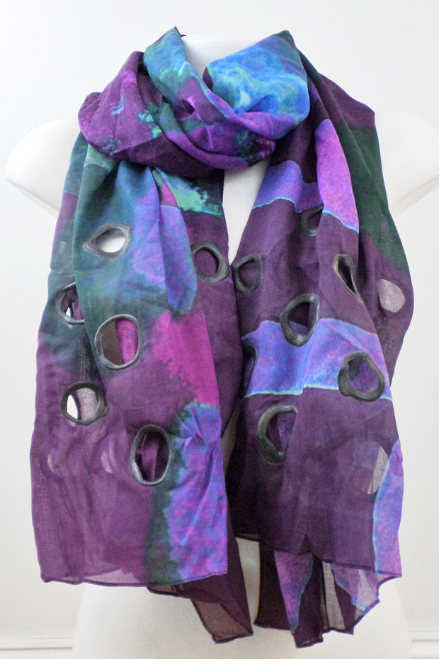 Annemieke Broenink Cotton Shawl Purple/Blue
