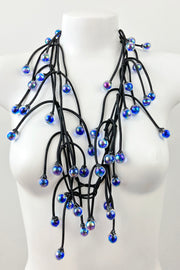 Annemieke Broenink Glass Bead Necklace Blue Iridescent