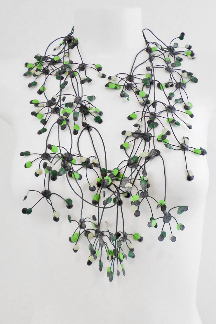 Annemieke Broenink Multi Dot Necklace Acid Green