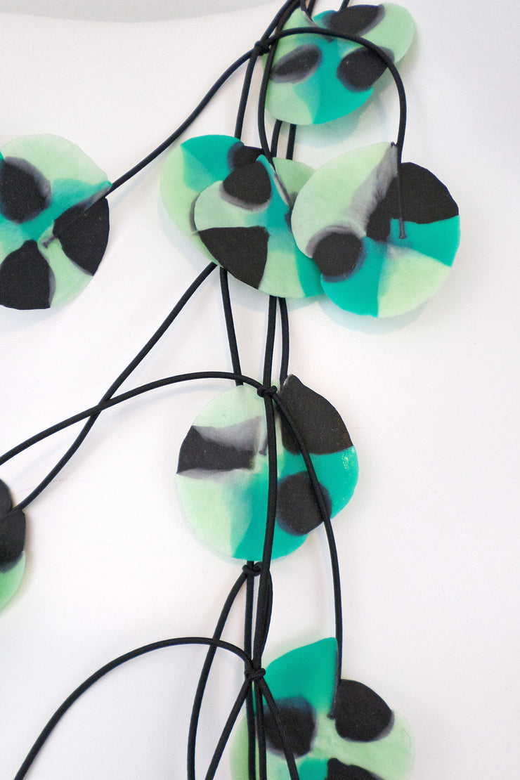Annemieke Broenink Recycled Poppy Necklace Aqua Green