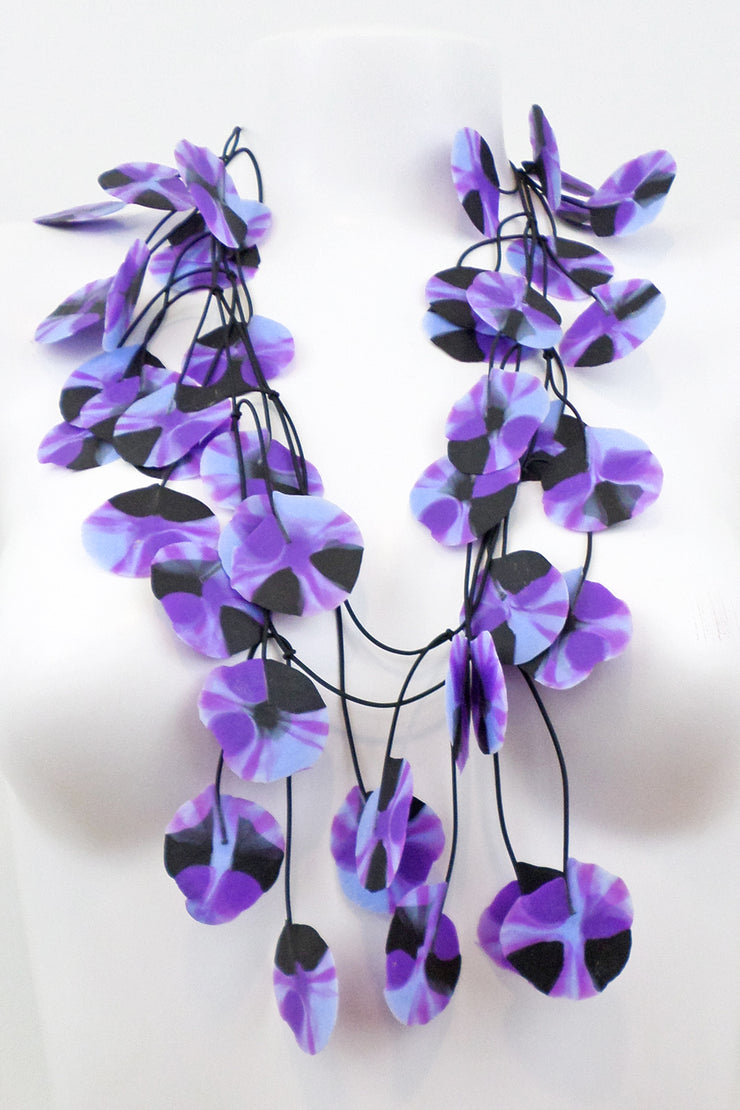Annemieke Broenink Recycled Poppy Necklace Purple/Blue