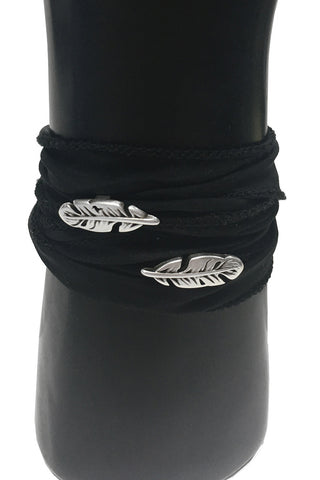 Mandy Campio Double Feather Silk Ribbon Bracelet Black