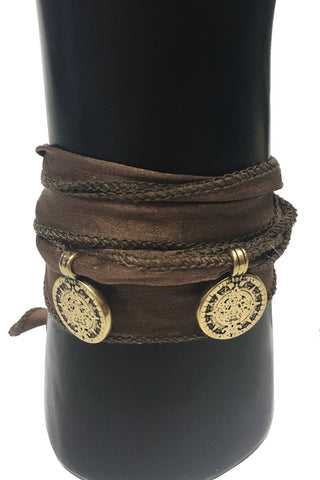 Mandy Campio Double Coin Silk Ribbon Bracelet Brown
