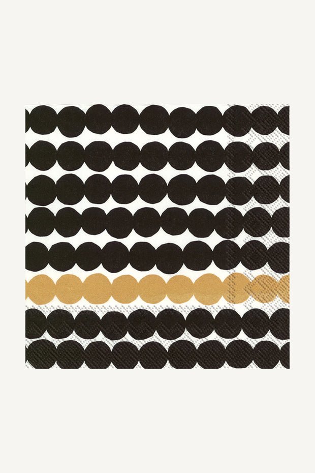 Marimekko Rasymatto Paper Luncheon Napkins Black/Gold