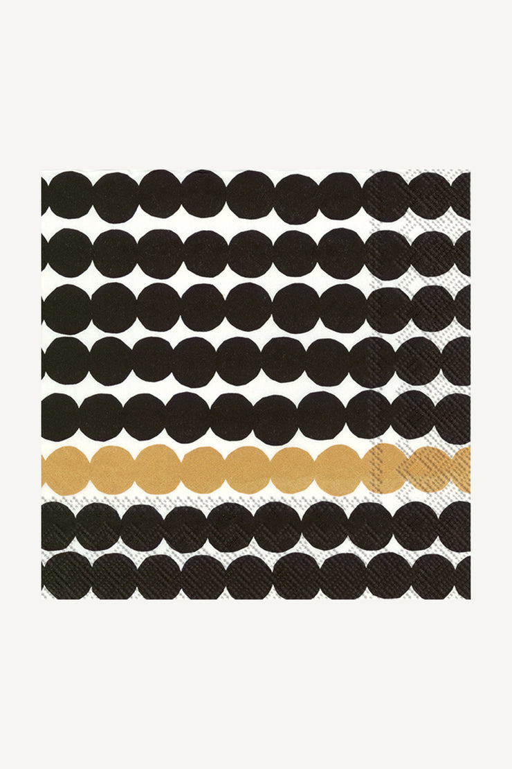 Marimekko Rasymatto Cocktail Napkins Black/Gold