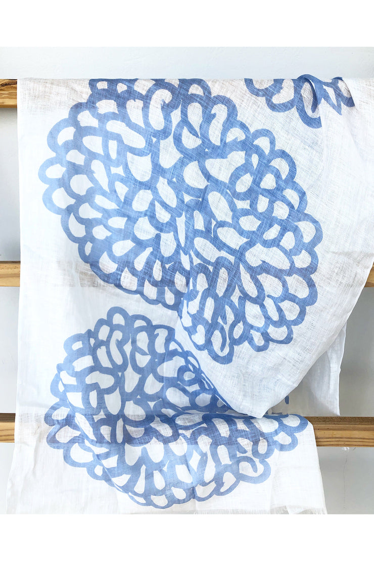 See Design Clouds Linen Scarf Periwinkle