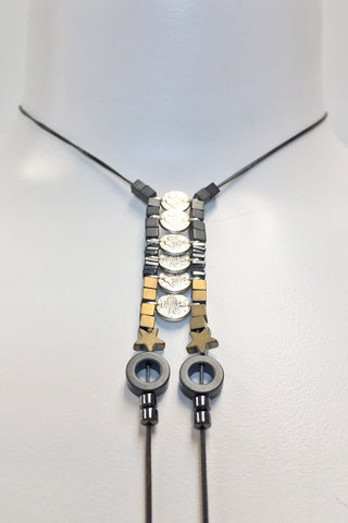 Mandy Campio Coins Lariat Necklace Coal