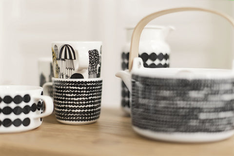 Marimekko Rasymatto Coffee Cup w/ Handle Black/White