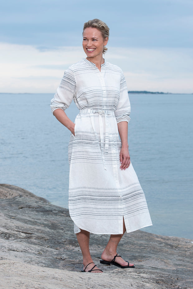 Ritva Falla Helina Linen Dress White With Black Stripe