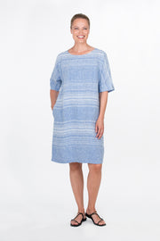 Ritva Falla Helmi Linen Dress Blue With White Stripe
