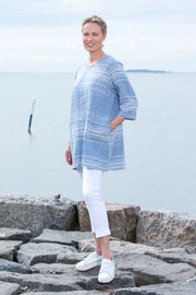Ritva Falla Hilkka Linen Tunic Blue With White Stripe