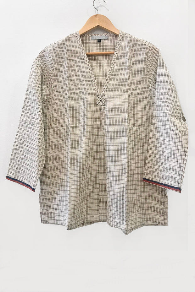 Nest Factory V-Neck Plaid Blouse