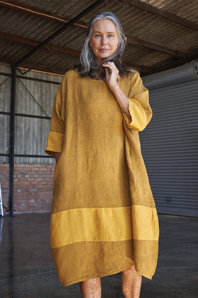 Kiitos Tulip Linen Dress Mustard Stripe