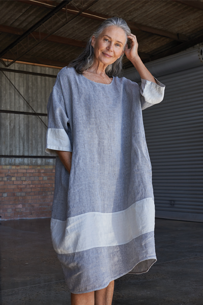 Kiitos Tulip Linen Dress Grey Stripe